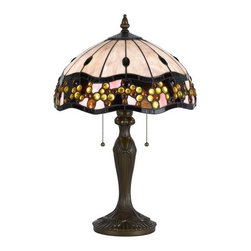Cal Lighting - Cal Lighting BO-2375TB Tiffany 2 Light Pedestal Base Table Lamp - Features: