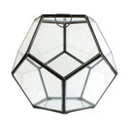 "Pierre Faceted Terrarium - 9"" x 9"" - Perfect polyhedrons, a staple of the geometric, intellectual looks that can be achieved with a sensitive and practical choice of home accessories, inspired this classic variation on the theme.� The Pierre Faceted Terrarium's patina metal frame and clear glass walls transmit light while hearkening back to the golden ages of intellectualism with architectural lines.� Fill or leave empty for a variety of looks."