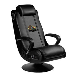 Dreamseat Inc. - Turkey Video Gaming Rocker Chair - Check out this Awesome Video Game Rocker. This is unbelievably comfortable - once you're in it, you won't want to get up. Features a zip-in-zip-out logo panel embroidered with 70,000 stitches. Converts from a solid color to custom-logo furniture in seconds - perfect for a shared or multi-purpose room. Root for several teams. Simply swap the panels out when the seasons change. This is a true statement piece that is perfect for your Man Cave, Game Room, basement or garage. It has built-in stereo headrest speakers, subwoofer and plug-in support for iPod, MP3s, CD players, home theater or video game systems. It also has a wireless kit with vibration in the seat.