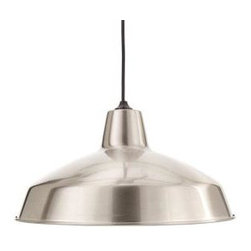 Hampton Bay One-light Brushed Nickel Warehouse Pendant - The price of this industrial-looking pendant is almost too good to be true — only $29!d