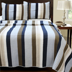 None - Nathan 3-piece Quilt Set - Update the look of your bedroom with this vibrant quilt set. Featuring bold blue,brown,and white stripes,this set includes the quilt and two shams,all made with 100-percent cotton. It is pre-washed and pre-shrunk for immediate use.