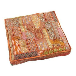 Sari Patch Floor Cushion, Orange - Each piece of Pier 1 Imports' Sari Patch floor cushions is taken from the yoke of a vintage kurti (the traditional dress of women in India). I would employ a row of these for an impromptu outdoor space right on the lawn!