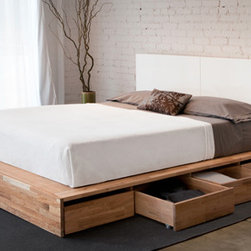 LAX series platform bed with storage drawers and wall mounted headboard -