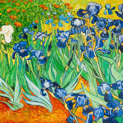 """overstockArt.com - Van Gogh - Irises - 36"""" X 48"""" Oil Painting On Canvas Hand painted oil reproduction of a famous Van Gogh painting, Irises. The original masterpiece was created in 1889. Today it has been carefully recreated detail by detail, color by color to near perfection. Why settle for a print when you can add sophistication to your room with a beautiful fine gallery reproduction oil painting? Vincent Van Gogh's restless spirit and depressive mental state fired his artistic work with great joy and, sadly, equally great despair. Known as a prolific Post-Impressionist, he produced many paintings that were heavily biographical. This work of art has the same emotions and beauty as the original. Why not grace your home with this reproduced fine gallery Van Gogh masterpiece? It is sure to bring many admirers!"""