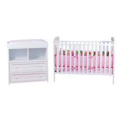 AFG Baby - AFG Baby Leila Crib and Changer Set in White - The Langley Crib and Dresser Nursery Set is the perfect choice for the beginning of the baby's room. This delightful set pairs a classic baby crib with a spacious dresser, both made of beautiful solid hardwood and nontoxic finishes. The crib itself boasts a 4-level adjustable mattress support to accompany the child's needs throughout his/her growth. The Dresser includes 2 generously-sized shelves and drawers for convenient storage. Rails along the top of the dresser allow it to also function as a changing table.