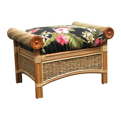 Spice Island Wicker - Ottoman with Cushion (Nara Marsala Spun - All Weather) - Fabric: Nara Marsala Spun (All Weather)Made from wicker. Natural finish. No assembly required. Includes cushion. 28.75 in. W x 21.75 in. D x 19.25 in. H (35 lbs.)