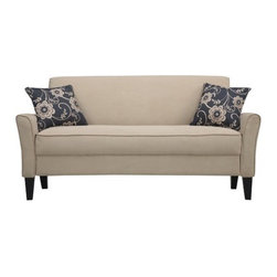 Handy Living - Bayonet Sofa - Features: -Features a slightly flared arm.-Covered in a durable, stain resistant 100pct polyester microfiber that works well in any room environment.-Attached box seat cushion.-Features plush foam and fiber seating.-Sturdy mixed hardwood frame that is glued and corner blocked.-ISTA 3A certified.-Features:Includes two 18'' matching throw pillows.-Features:Eco-friendly and efficient product design uses less fossil fuel based components in construction and delivery.-Features:Tapered wooden legs with a dark espresso finish.-Collection: Bayonet.-Distressed: No.Dimensions: -Overall Product Weight: 90.Warranty: -Manufacturer provide one year warranty on against manufacturing defects.
