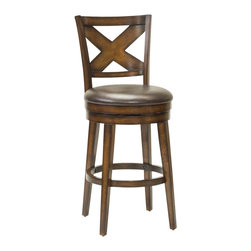 Hillsdale Furniture - Swivel Stool (26 in. Counter Height) - Choose Size: 26 in. Counter Height. Sturdy, tapered legsBrown vinyl seat.Unique rustic oak finishSubstantial criss-cross motif on back. 20 in. W x 23 in. D x 41 in. H (35 lbs.)Hillsdale Furniture is taking traditional wood stools to the next level. The Sunhill Swivel Stool starts with sturdy, tapered legs. A durable brown vinyl seat is added next, followed by a unique rustic oak finish with burnished edges. Finally, the back displays a substantial criss-cross motif that completes the look. Constructed of hardwood with veneer, some assembly required.