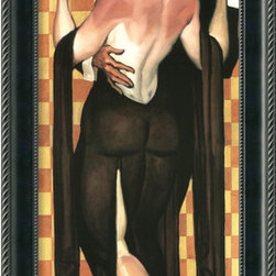 Amanti Art - Art Deco Evening Framed Print by Juarez Machado - Nothing is quite as posh as art deco. The highly structured male and female subjects and geometric background revive the popular 1920's and 1930's style in forms with smooth, strong lines and a touch of seduction. Hang this piece by Juarez Machado in your Craftsman bungalow for decorative flair.