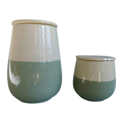 Mint & White Jars - Set of 2 - Sold as a set of 2. These lovely jars will find a home in any room. Perfect in a bathroom for cotton and such, lovely kitchen jars for sugar and salt, even a great accent at the bedside for jewelry and personal effects. The neutral, crisp dual-color design will look great in any room of the house.
