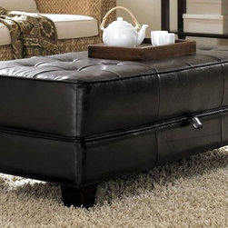 Riverside Furniture - Leather Occasional Large Ottoman Cocktail Tab - Color: Bradford BrownButton-tufted. Synthetic leather top with matching vinyl side panels. Hinged top conceals storage area. Top supported by full length piano hinge. Two pneumatic hinges for easy opening and closing. Tapered wood legs. CPSC HR-4040 certified. 48 in. W x 24 in. D x 18 in. H (72 lbs.). Assembly instructions