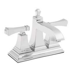 "Speakman - Speakman Rainier Collection 4 Inch Centerset Faucet in Polished Chrome - Speakman's Rainier 4"" Centerset two- handle bathroom faucet adds a unique square design to complete a bold look in the bathroom. The Rainier chrome faucet prevails a striking masculine update to your traditional styled bathroom faucets. The newest design collection to the Speakman family; the Rainier bathroom faucet collection pairs with the Rainier Showerhead and other bathroom accessories to present iconic exclusivity in any bathroom."