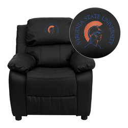 "Flash Furniture - Virginia State University Trojans Black Leather Kids Recliner with Storage Arms - Get young kids in the college spirit with this embroidered college recliner. Kids will now be able to enjoy the comfort that adults experience with a comfortable recliner that was made just for them! This chair features a strong wood frame with soft foam and then enveloped in durable leather upholstery for your active child. This petite sized recliner features storage arms so kids can store items away and retrieve at their convenience. Virginia State University Embroidered Kids Recliner; Embroidered Applique on Headrest; Overstuffed Padding for Comfort; Easy to Clean Upholstery with Damp Cloth; Flip-Up Storage Arms; Storage Arm Size: 3.25""W x 6""D x 11""H; Solid Hardwood Frame; Raised Black Plastic Feet; Intended use for Children Ages 3-9; 90 lb. Weight Limit; Black LeatherSoft Upholstery; LeatherSoft is leather and polyurethane for added Softness and Durability; CA117 Fire Retardant Foam; Safety Feature: Will not recline unless child is in seated position and pulls ottoman 1"" out and then reclines; Overall dimensions: 25""W x 26"" - 39""D x 28""H"