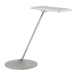 Humanscale - Horizon LED Desk Lamp - Horizon LED task table lamp is a striking, and compliments any interior. Even plane of illumination casts just one shadow. Spherical joints in the base and light assembly facilitate easy, intuitive positioning. Seven levels of adjustable illumination and night light feature operates at just one watt. Horizon is available in glossy white, glossy black, and silver. 89 CRI. One 9 watt, 120 volt, 3000K LED lamp included. ETL listed. Maximum height is 18.5 inches. Head measures 3.75W x 9.5H.