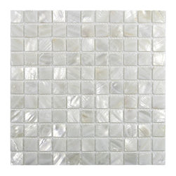"""CNK Tile - White 1"""" x 1"""" Pearl Shell Tile - Our beautiful Mother of Pearl tile in iridescence white and natural tones is on a mesh backing for easy installations in many applications."""