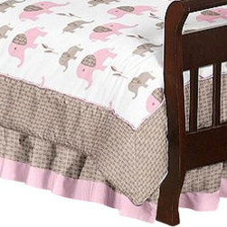 Sweet Jojo Designs - Pink Elephant Toddler Bed Skirt by Sweet Jojo Designs - The Pink Elephant Toddler Bed Skirt by Sweet Jojo Designs, along with the  bedding accessories.