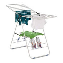 Honey Can Do DRY-01610 Gull Wing Steel Drying Rack - Additional FeaturesCan be used indoors or outdoorsLimited lifetime warrantyAble to be used indoors or out the Honey Can Do DRY-01610 Gull Wing Steel Drying Rack allows you to air dry your clothes year round. Whether you need space to dry garments that aren't made for the dryer or you're looking to save money or help the environment this drying rack is perfect for you. Constructed from steel for durability this drying rack can hold up to 80 lbs. and folds and collapses with ease for storage. Measuring 57L x 23W x 37.5H inches when open the gull wings provides ample room for drying your clothes while the base can be used to dry shoes and smaller items.