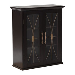 Elegant Home Fashions - Delaney Wall Cabinet with 2 Doors - The Delaney Wall Cabinet with Two Doors in a dark espresso finsih from Elegant Home Fashions features an elegant crown molded top with two doors offering storage with style for your bathroom.  It is also very functional with two adjustable shelves.  The tempered glass-paneled doors decorated with cathedral style wire, provides a looming view into the cabinet.  It also features metal knobs for easy opening. This cabinet comes with assembly hardware.