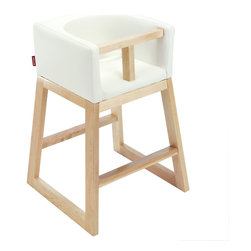 Monte Design - Monte Design Tavo Maple High Chair - Monte Design produces comfortable and well-crafted furnishings for the contemporary nursery and child's bedroom. The Tavo high chair blends seamlessly in modern kitchens and dining areas. Its wipeable, bonded leather seat and maple wood base provide sleek style, while a T-bar and polished aluminum seatbelt safely secure the child. Available in black, brown or white upholstery. Pulls up to standard-height tables. Made with FSC-certified wood. Intended for children sitting upright unassisted to children around four years old. Food tray not required or included.