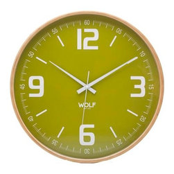 "Wolf Designs - 21"" Round Wall Clock-Green - Our 21"" Round Wall Clock has an updated look reminiscent of the clocks on your elementary school wall. This stark, contemporary design features a 21"" white dial contrasted with black hands and sans-serif numbering is perfect for viewing from across the room. This clock has been updated with a sleek font, easier to read numbers."