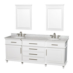 "Wyndham Collection - Wyndham Collection 80"" Berkeley White Double Vanity & Carrera Marble Top - If your bathroom's asking you for a facelift, the Berkeley is a worthy choice. At once elegant, classic and contemporary, the Berkeley vanity lends an air of sophistication and charm to any bathroom, from a Soho penthouse to a rustic country home. Carefully hand built to last for decades and finished in White or Dark Chestnut, this solid wood vanity is trimmed with brushed chrome hardware to compete the timeless look. Available in multiple sizes and finishes."