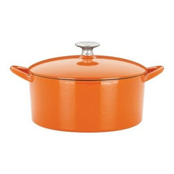Mario Batali by Dansk Classic 4 qt. Round Dutch Oven - Persimmon - Mario Batali is known for his way with modern Italian dishes and his bright orange cooking clogs. The Mario Batali by Dansk Classic 4 Sq. Dutch Oven in Persimmon combines his kitchen know-how with his own brand of style. This gorgeous cast iron Dutch oven has a vivid persimmon enamel and works beautifully on all gas, electric, induction, or ceramic-top stoves. It's also dishwasher-safe and includes a lifetime warranty. Savvy and stylish!
