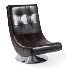 Armen Living - Mario Swivel Chair Brown Bonded Leather - This elegant swivel club chair can own the show from center stage or play together harmonically with others as you mix and match in melodic synchronicity. Made with Bonded Leather.