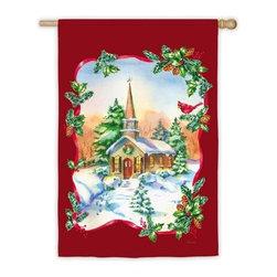 "Joyful Winter Church House Flag - Joyful Winter Church House Flag features soft, hand crafted, fade resistant nylon material. 29"" x 43"""