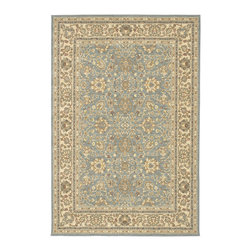 "Karastan - Karastan Sierra Mar 35505-33008 (Capri Robins Egg) 3'3"" x 5'6"" Rug - Comfortable, weathered, easy to live with color, is the signature style of the Sierra Mar collection, with relaxed patterns that complement both traditional and modern design. Woven in the U.S.A., the pure New Zealand worsted wool yarns have been specially twisted and space-dyed to create artful color 'stria' reminiscent of fine hand woven 'Peshawar' rugs."