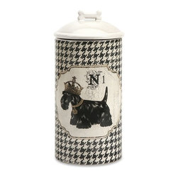 "IMAX - Dog Ceramic Canister Large - Store all the essentials for your canine friend in this beautiful large ceramic container with royal graphics. Item Dimensions: (11""h x 5""w x 5"")"