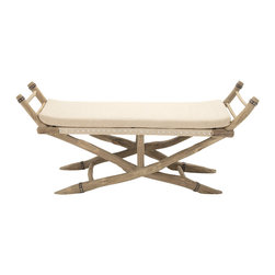 Classy and Captivating Wood Fabric Bench - Description: