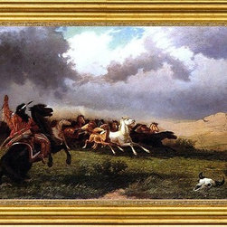 """William De la Montagne Cary-14""""x28"""" Framed Canvas - 14"""" x 28"""" William De la Montagne Cary Rounding up Horses framed premium canvas print reproduced to meet museum quality standards. Our museum quality canvas prints are produced using high-precision print technology for a more accurate reproduction printed on high quality canvas with fade-resistant, archival inks. Our progressive business model allows us to offer works of art to you at the best wholesale pricing, significantly less than art gallery prices, affordable to all. This artwork is hand stretched onto wooden stretcher bars, then mounted into our 3"""" wide gold finish frame with black panel by one of our expert framers. Our framed canvas print comes with hardware, ready to hang on your wall.  We present a comprehensive collection of exceptional canvas art reproductions by William De la Montagne Cary."""