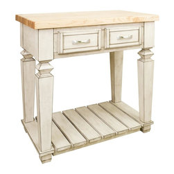 """Hardware Resources - Jeffrey Alexander Bungalow Petite Kitchen Island in French White (ISL10-FWH) - This 33 15/16"""" x 22 1/6"""" x 34 1/4"""" table style island with open shelf is manufactured using the highest quality furniture grade hardwoods and MDF. The island features two deep working drawers on one side and a false front on the reverse. Drawers are dovetail solid hardwood and are mounted on undermount full extension soft close slides. Decorative hardware is included with this item. Coordinating post P34 is available in our carved wood collection. French White finish is applied by hand. 1 3/4"""" hard maple edge grain butcher block top sold separately (ISL10 TOP 36"""" x 24"""")"""