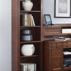 Liberty Furniture - Liberty Furniture Keystone Jr Executive Bookcase in Ginger Glaze Finish - As its name would imply  Keystone home office is the foundation or essential base for a home office.  Great workspaces balance organization with comfort and style.  They make the most of a work area.  Keystone features a 52â leg desk  credenza & hutch  and bookcases.  The 52â desk features a drop down center keyboard drawer flanked by two pencil drawers and two larger file drawers.  The credenza features a pull out printer shelf  2 pencils drawers  2 storage drawers  2 file drawers  and a center drop down keyboard drawer. The credenza hutch features a built in charging station  pencil drawer  and a center compartment.  Bookcases feature 4 adjustable  removable shelves with wire management.  The bookcases work great as storage and are best satisfied vertically maximizing the space in a room.  Pair the bookcases together for a wall or place them on either side of the credenza.Collection Features: English Dovetail ConstructionPrecision Ball Bearing Drawer GlidesFile Drawer LocksFlip Down Keyboard TrayCharging Station for Phones  PDA's  etc.Adjustable ShelvingWire Management ProvisionsFancy Face Cherry Veneer TopTapered Leg DesignAntique Brass Knobs and Bail PullsMoulding AccentsGallery Style HutchArched Top BookcaseSlide Out Trays for Printers & Scanners