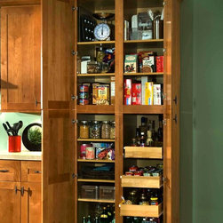 Kitchen Accessories - Tall Utility cabinets with shelves and pull-out trays make great pantry storage