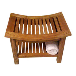 Master Garden Products - Curved-Top Teak Stool With Rack - We offer a full line of teak shower and bath stools with different designs and sizes to choose from.Teak wood is the only wood that can withstand damp environments and has a high resistance to rotting or molding. Teak wood grain is uniquely smooth and dense; perfect for bathroom use.