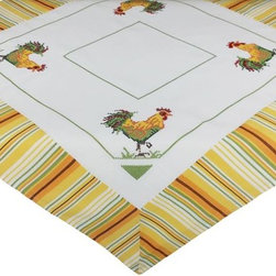 Xia Home Fashions - Rooster 36 By 36 Inch Table Topper - Bright country rooster in yellow striped edge pattern. Bring a little country into your kitchen!