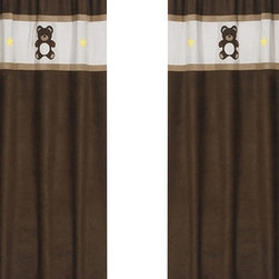 """Sweet Jojo Designs - Chocolate Teddy Bear Window Panels (Set of 2) - Create a stylish look for your child's room with the Chocolate Teddy Bear Window Panels (Set of 2).  This set features 2 Window Panels that are 42"""" x 84"""" each."""