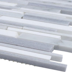 Sample Gray Clouds Cracked Joint Free Form Marble Tile, 1/4 Sheet - Sample-Gray Clouds Cracked Joint Free Form Marble Pattern 1/4 Sample Please note you are purchasing 1/4 of a sheet sample. -Glass Tiles -