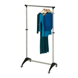 Modern Adjustable Garment Rack - Honey-Can-Do GAR-03535 Modern Adjustable Garment Rack, Chrome. This sturdy garment rack features steel construction and goes from room to room on smooth rolling ball casters. The hanging bar adjusts to accommodate short or long garments and is perfect for managing out-of-season clothing, outdoor gear, or items hung to dry in the laundry room. The modern design adds a contemporary feel to any room of the house that needs extra garment storage.