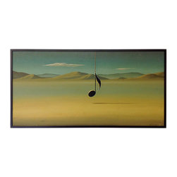 """Art - A surrealist oil painting of a single music note dangling from a chain against a desolate desert backdrop. This piece is signed in the lower left, """"Rodney Evans Bacon,"""" and titled in the lower right, """"The Lonely One."""""""