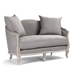 "Kathy Kuo Home - Rue du Bac French Country Grey Linen Feather Settee Loveseat - This wonderful two person settee is hand crafted of sturdy oak in a slightly distressed finish. Upholstered in natural linen, this traditional French Country inspired settee lends vintage elegance to any living room. Two 24"" linen toss pillows also come with this settee. Coordinating armchair and sofa available as well. Free white glove delivery included."