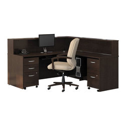 "BBF - Bush Series C 5-Piece L-Shape Reception Computer Desk in Mocha Cherry - Bush - Reception Desks - WC12936PKG5 - Bush Series C 48"" Return Bridge (included quantity: 1) The Bush Series C Return Bridge offers you a refined approach to expanding your workspace. This fine return bridge merges beautifully with any Bush Series C Desk and other Series C furniture to contribute to a powerful total package.  Features:"