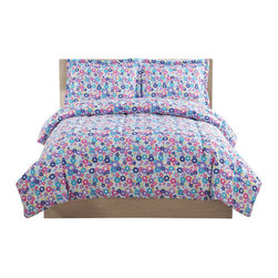 Pem America - Libby Floral Full Comforter With 2 Shams - Fun graphic flowers in yellow, purple, lavender and pink on a light blue base.  This comforter is the perfect coordinate to your flowery bedroom.  This 100% microfiber face is easy care and long lasting. 1 Full Comforter, 76x86 inches and 2 standard shams, 20x26 inches. 100% microfiber polyester face and fill. Machine washable.