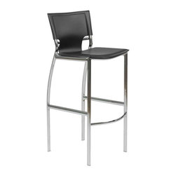 Eurostyle - Eurostyle Vinnie-B Bar Chair in Black Leather & Chrome [Set of 2] - Bar Chair in Black Leather & Chrome belongs to Vinnie Collection by Eurostyle The Vinnie Bar Stool represents the future of modern chair design with its futuristic styling and progressive seating concept. Featuring a chromed steel frame with a leather seat and back available in 3 different color options including black, brown, and white. These features make the Vinnie Bar Stool a must have piece for eating areas in homes. The Vinnie Collection also features a Counter Height Stool. Bar Chair (2)
