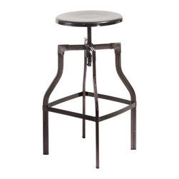 Great Deal Furniture - Lucci Steel Swivel Stool, Gunmetal Grey - The Lucci Swivel Stool is a great addition to any room in your home. With its adjustable stool height and modern style, this neutral colored stool will match any color scheme while its functionality makes this piece a must have for your interior space.