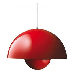 """&Tradition - Copenhagen - &Tradition - Copenhagen Flowerpot Big Pendant Light - The Flowerpot Big pendant light was designed by Verner Panton for &Tradition in 1968.  This contemporary pendant light has stood the test of time.  Designed in 1968, the Flowerpot Big pendant light was named after the happy days of Flower Power.  The Flowerpot pendant light is made from aluminum with a laquered finish that is available in three colors.   Product description: The Flowerpot Big pendant light was designed by Verner Panton for &Tradition in 1968.  This contemporary pendant light has stood the test of time.  Designed in 1968, the Flowerpot Big pendant light was named after the happy days of Flower Power.  The Flowerpot pendant light is made from aluminum with a laquered finish that is available in three colors.  Special order - Non returnable            Details:                         Manufacturer:                        & Traditions                                                 Designer:                        Verner Panton                                         Made in:                        Denmark                                         Dimensions:                        Width: 19.6""""(50 cm) X Height: 13.7"""" (35 cm)                                          Light bulb::                        1 X 60 W Max E27 incandescent                                         Material:                                                                                    Aluminum"""