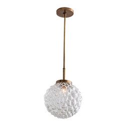 "Arteriors - Arteriors Home - Giuliana Large Pendant - 46730 - This trio of pendants feature organically bubbled cased glass globes and antique brass metal accents. Features: Giuliana Collection Large Pendant1 LightsClear Luster GlassAntiqued Brass Some Assembly Required. Dimensions: Adj. H: 18""-42"" x 12"" Dia"