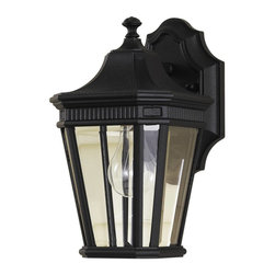 Murray Feiss - Murray Feiss Cotswold Lane Outdoor Wall Mount Light Fixture in Black - Shown in picture: Cotswold Lane Outdoor Lantern in Black finish with Clear beveled glass shade