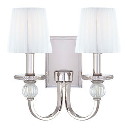 Frontgate - Aise Two-Light Wall Sconce - Provides ample illumination while making a brilliant accent for a dining room, hallway, bedroom, or foyer. Uses 60-watt candelabra base bulbs (not included). 120V. UL listed. One year limited manufacturer's warranty. Clean and contemporary, our Aise Two-light Wall Sconce makes a relaxed, sophisticated accent that pairs well with any decor. Brilliantly finished in polished nickel, the sconce is enhanced with optic blown glass accents and gossamer white pleated shades for a bright, reflective look.  .  .  .  . One year limited manufacturer's warranty . Some assembly required . Imported.
